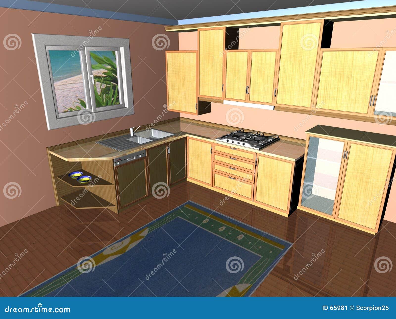3D Keuken geeft terug