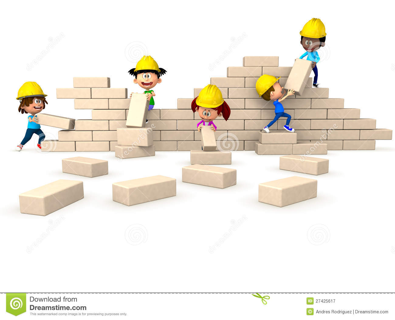 3D Kids Building A Wall Royalty Free Stock Photography - Image ...