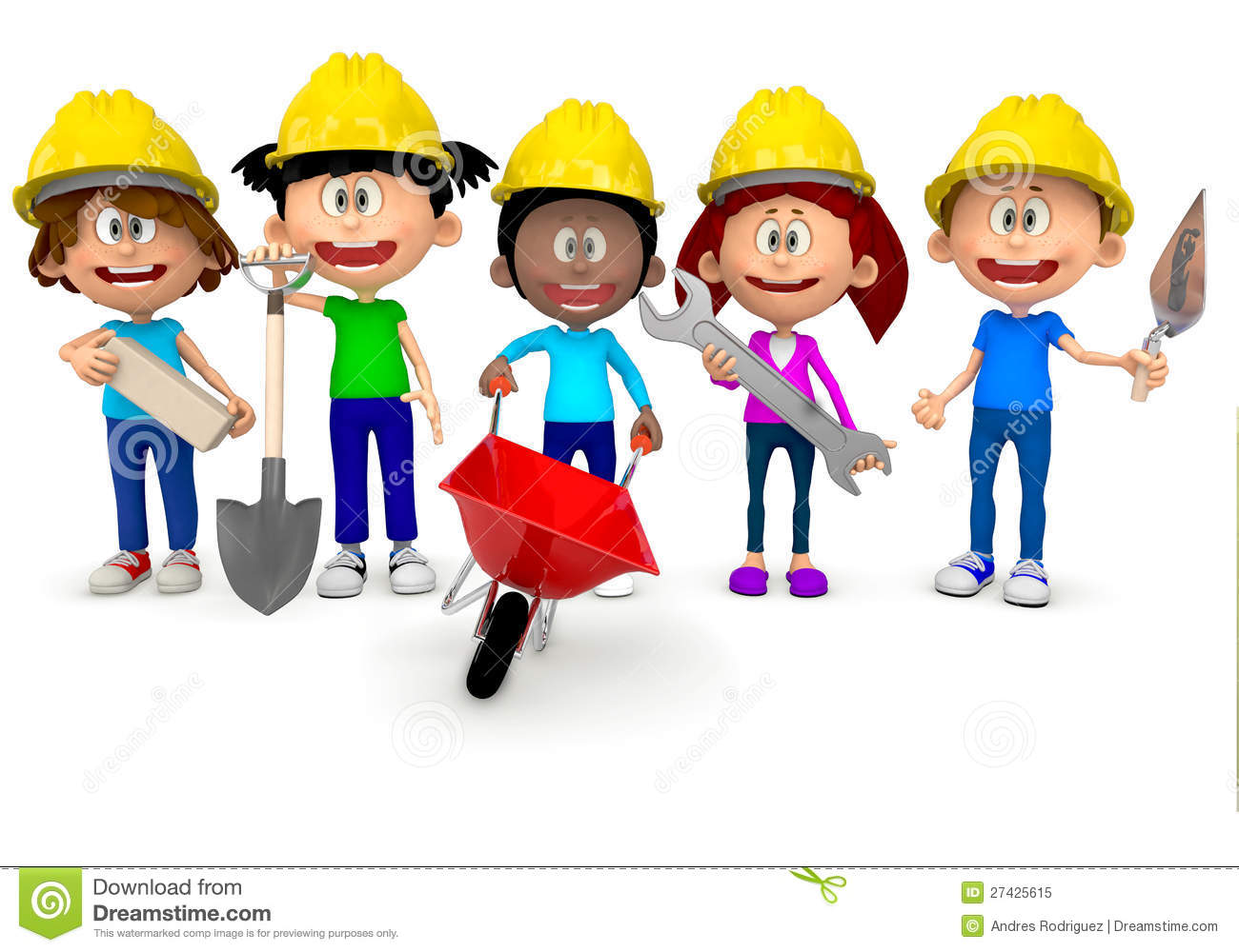 3D kids working in construction and wearing helmets - isolated over ...