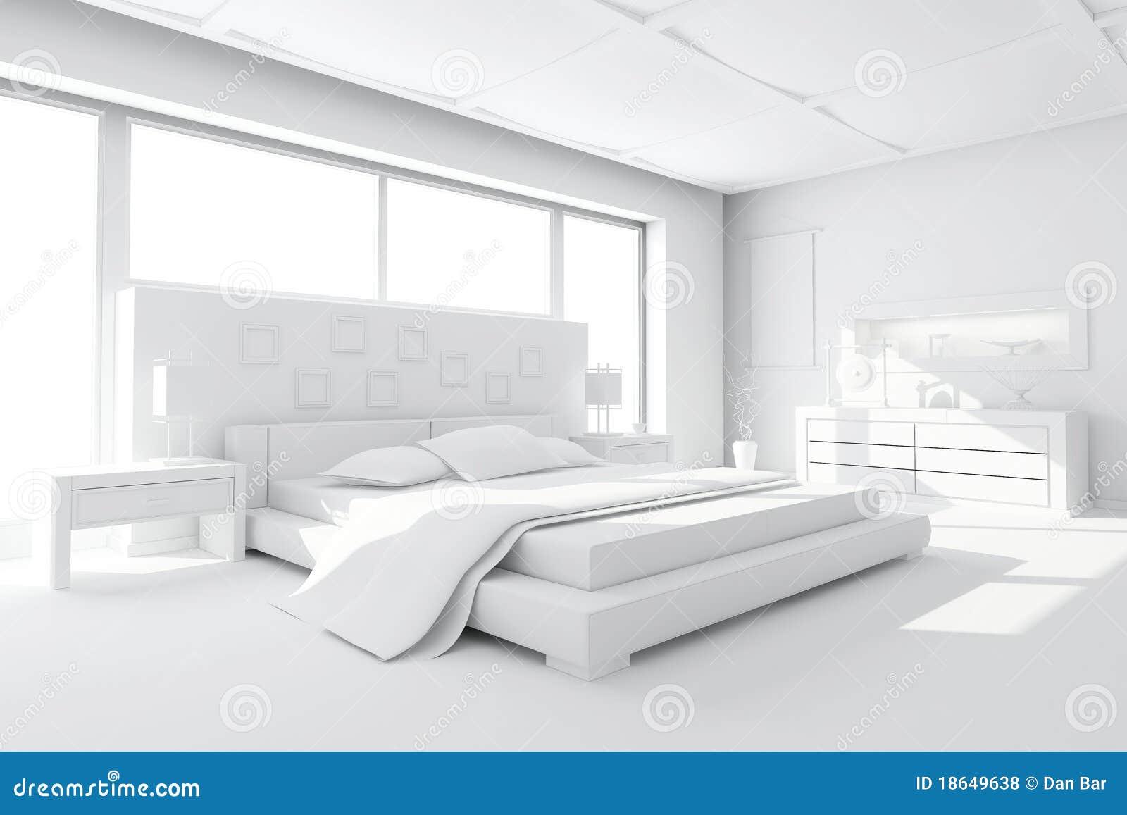 3d klei geeft van een moderne slaapkamer terug stock for Chambre coucher moderne