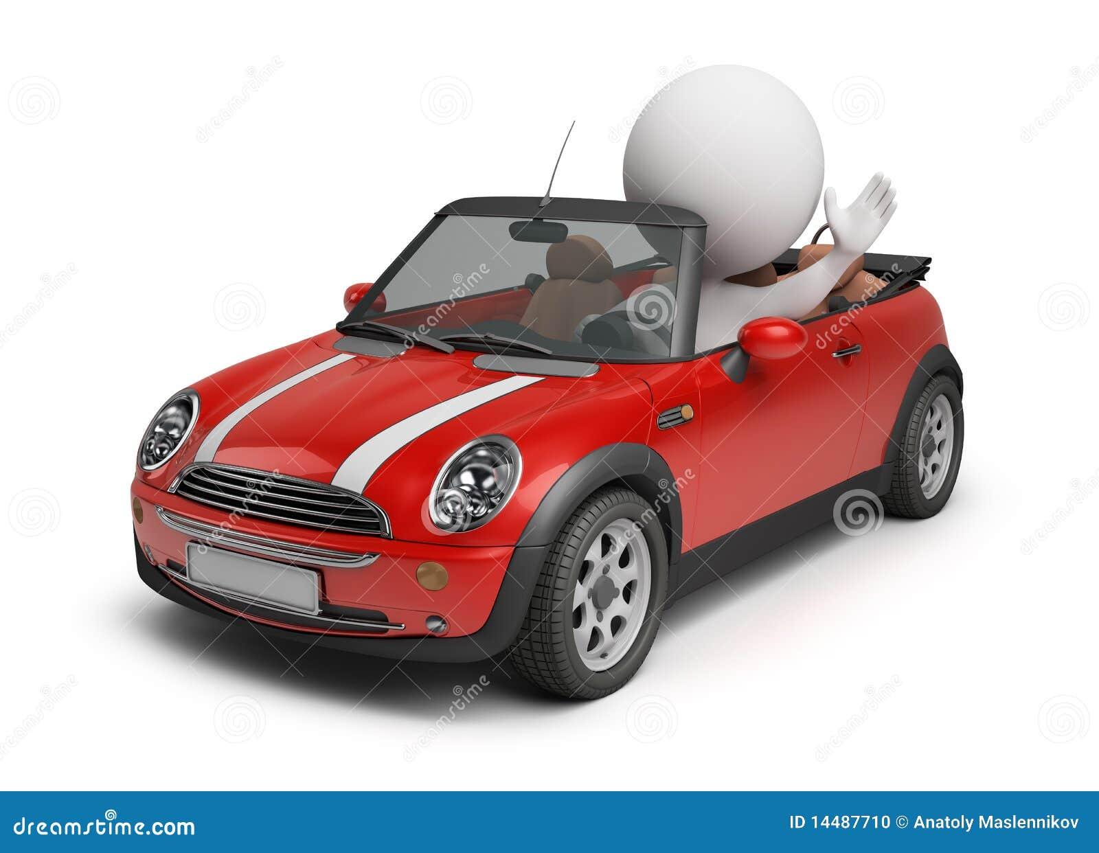 3d kleine leute kleines auto stockfoto bild 14487710. Black Bedroom Furniture Sets. Home Design Ideas