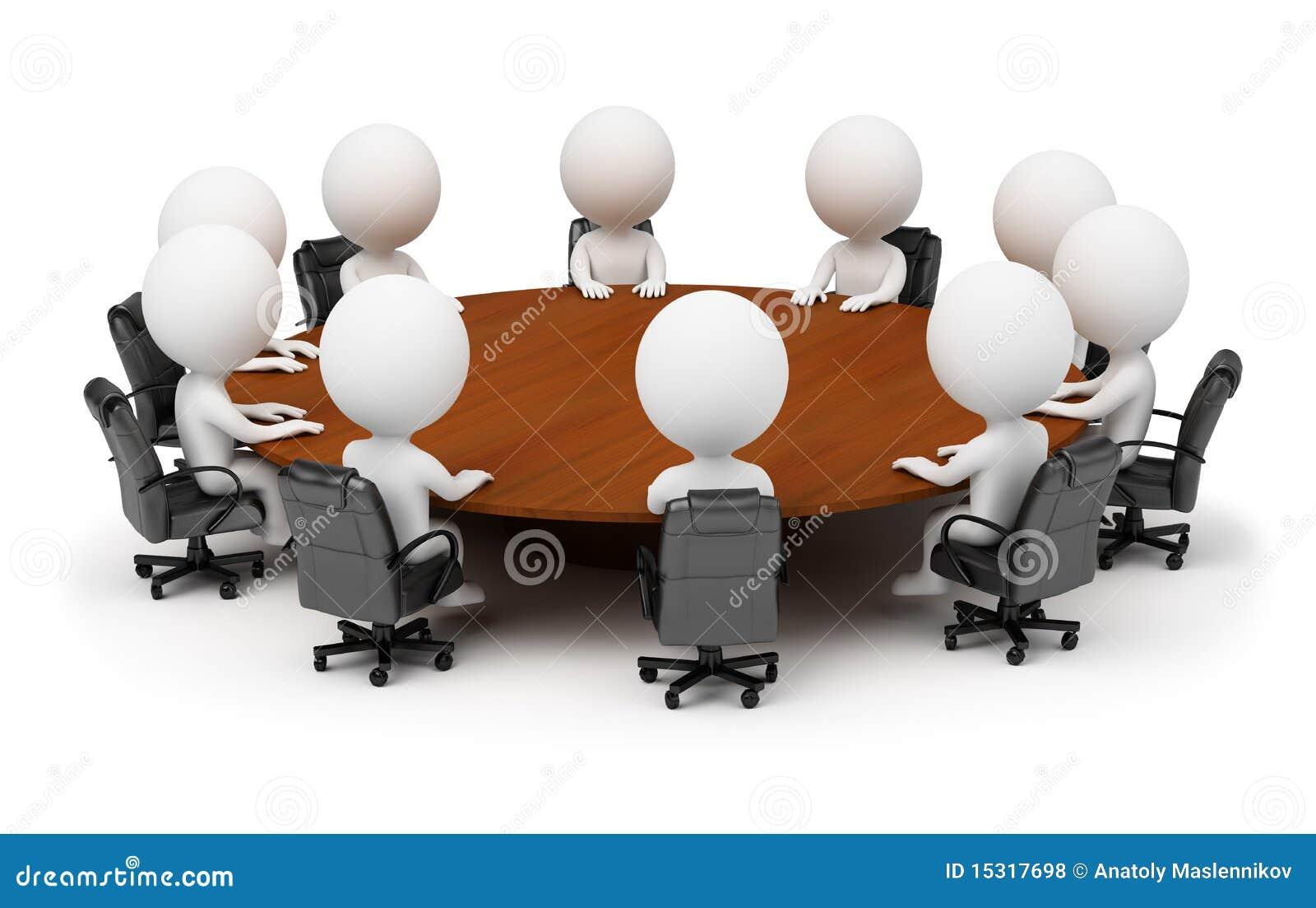 3d kleine Leute - Sitzung hinter einer runden Tabelle