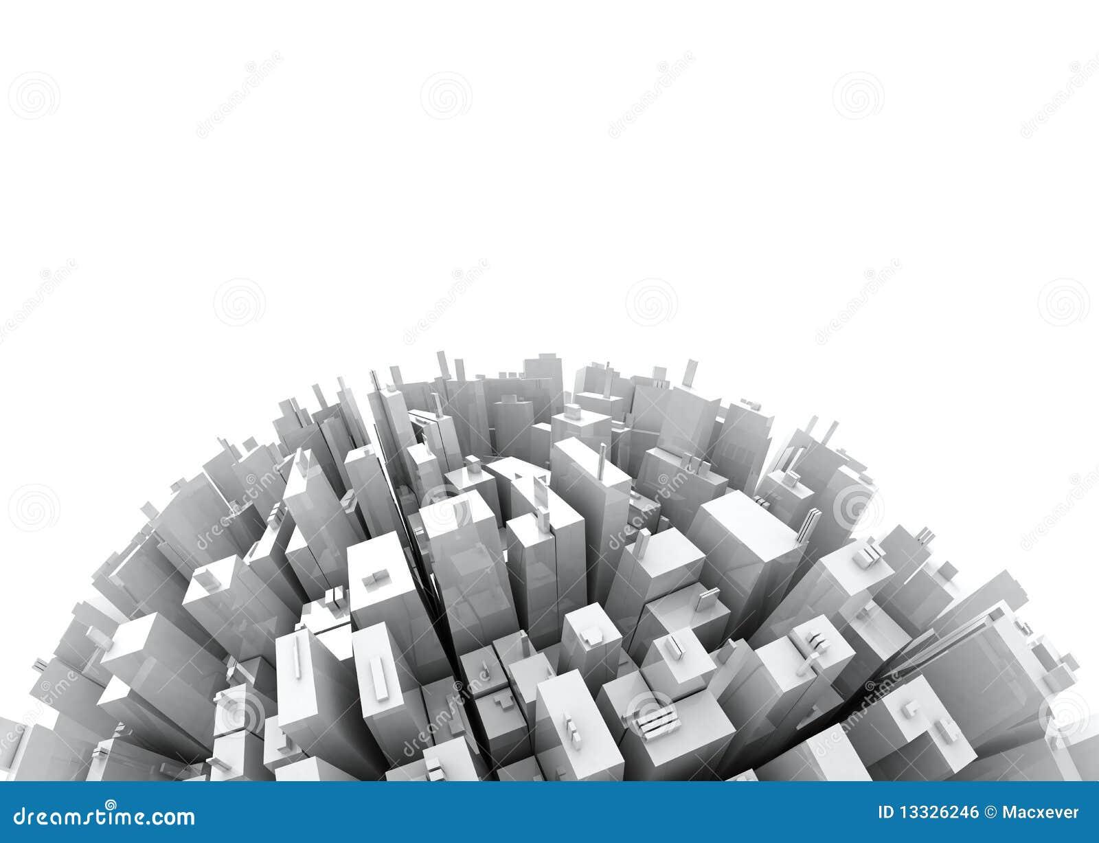 3d kopia odizolowywający skyscrappers przestrzeni biel