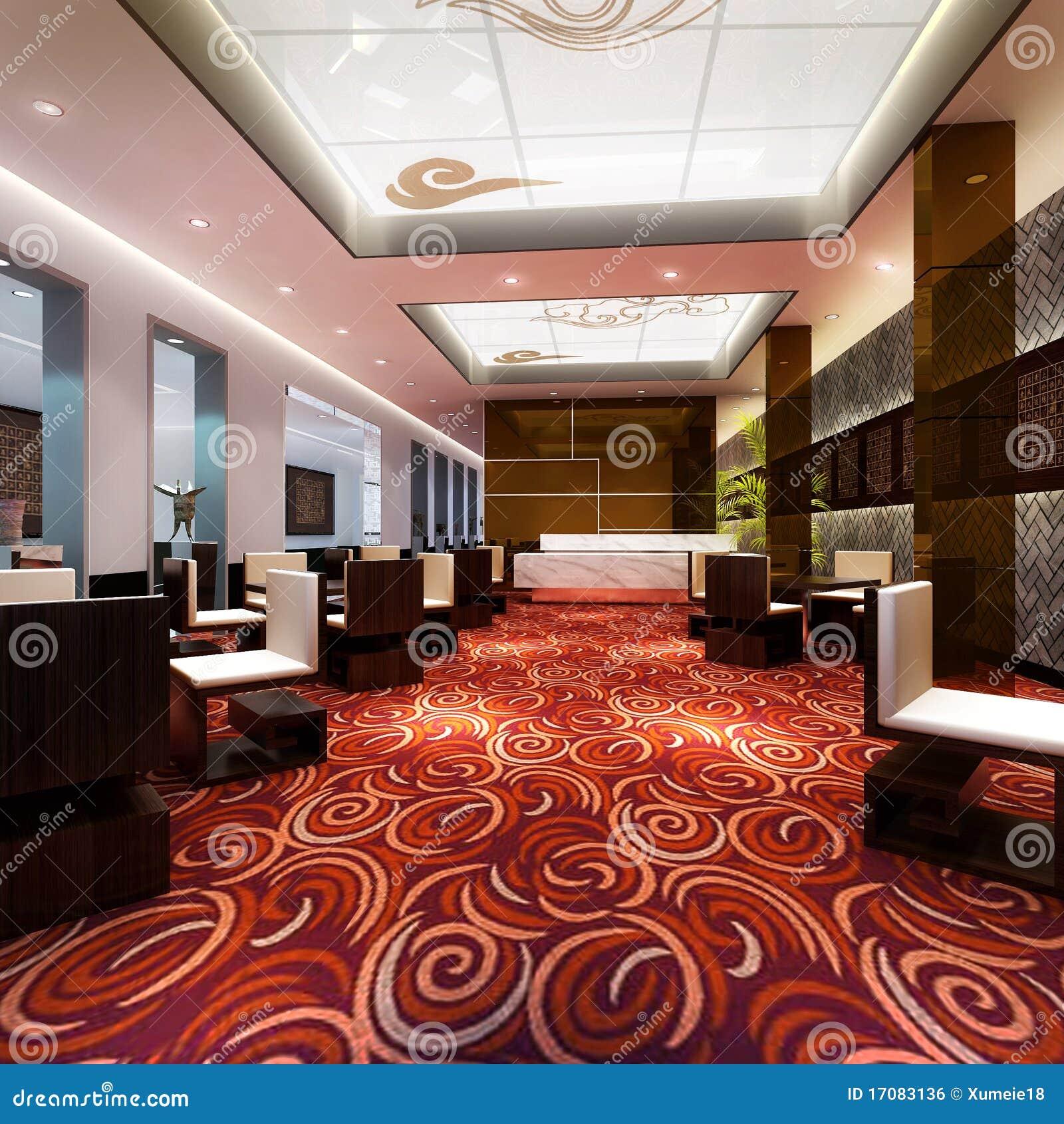 3d large restaurant hall rendering