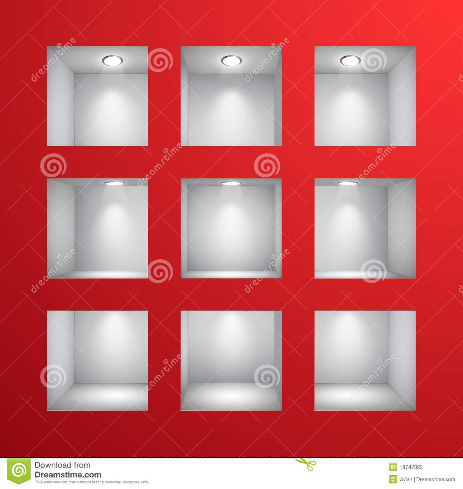 3d leeren regale f r ausstellung in der wand stockfotos. Black Bedroom Furniture Sets. Home Design Ideas