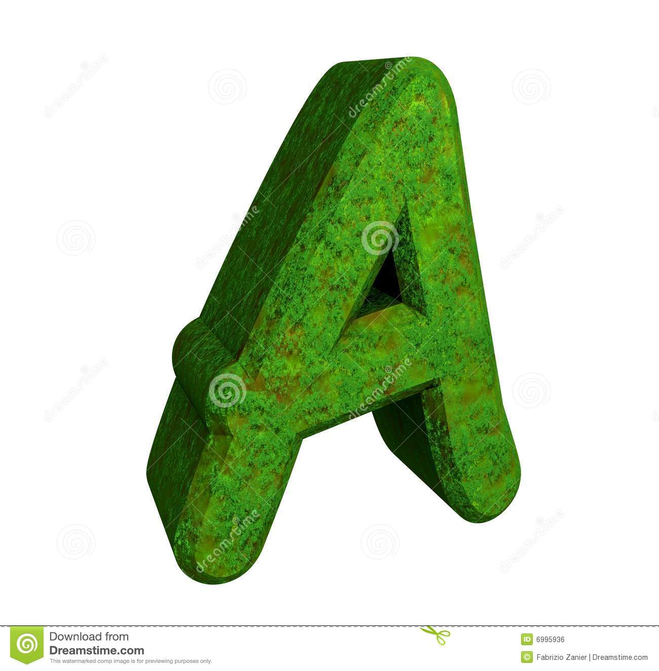 3d Letter A In Green Grass Royalty Free Stock Image