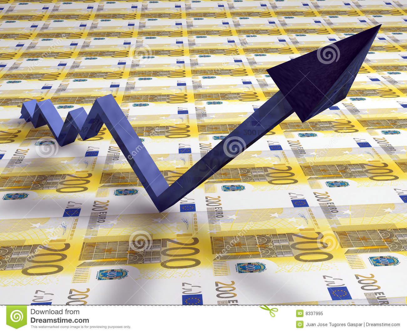 3d line graph with up arrow stock illustration