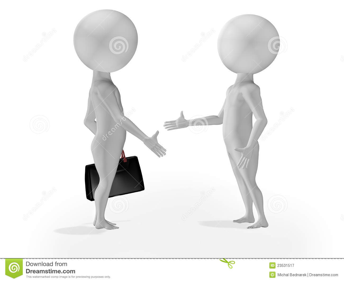 3d little people business deal stock illustration