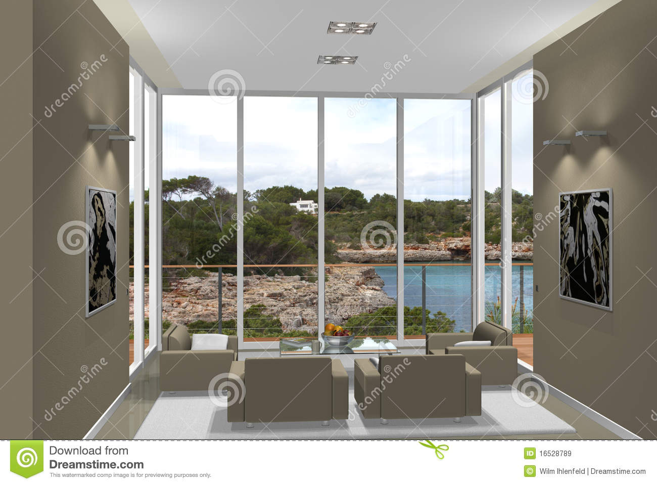 3d living room with fantastic view royalty free stock for Living room 3d view