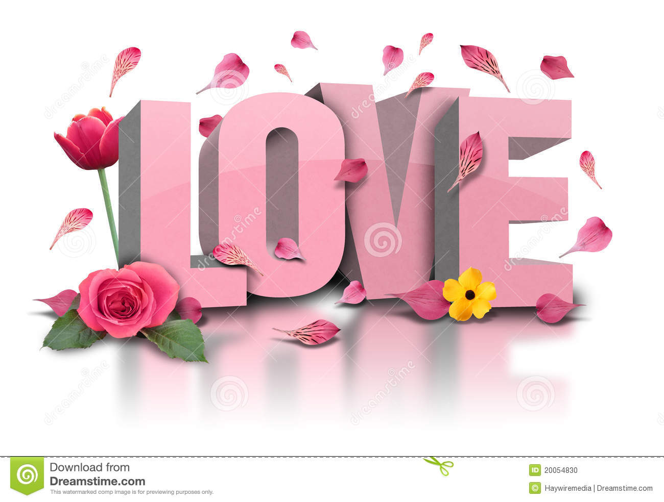3D Love text with Flowers on White