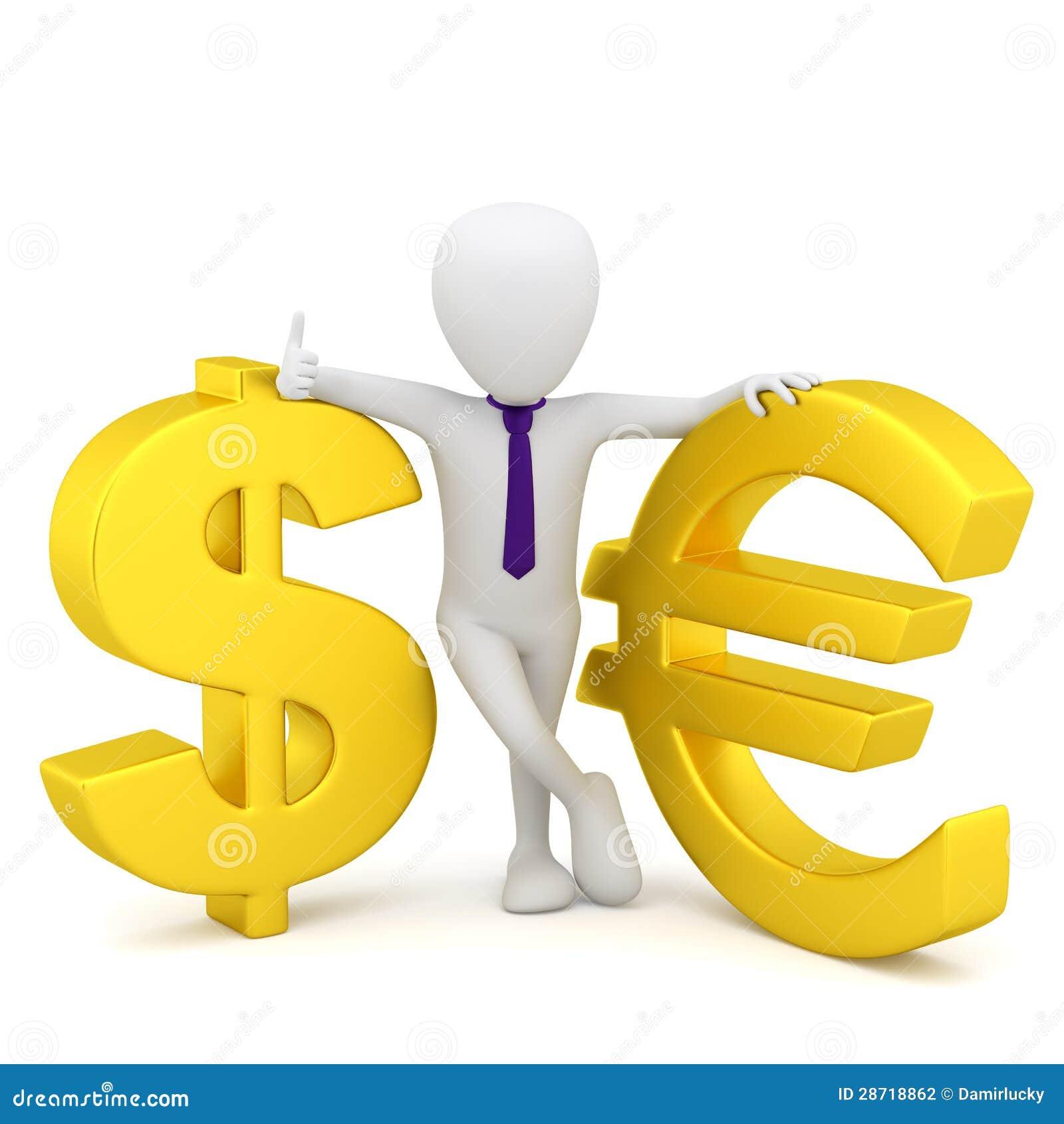 20f3a0e09 3d Mali Ludzie - Dolarowy Znak I Euro. Ilustracji - Ilustracja ...