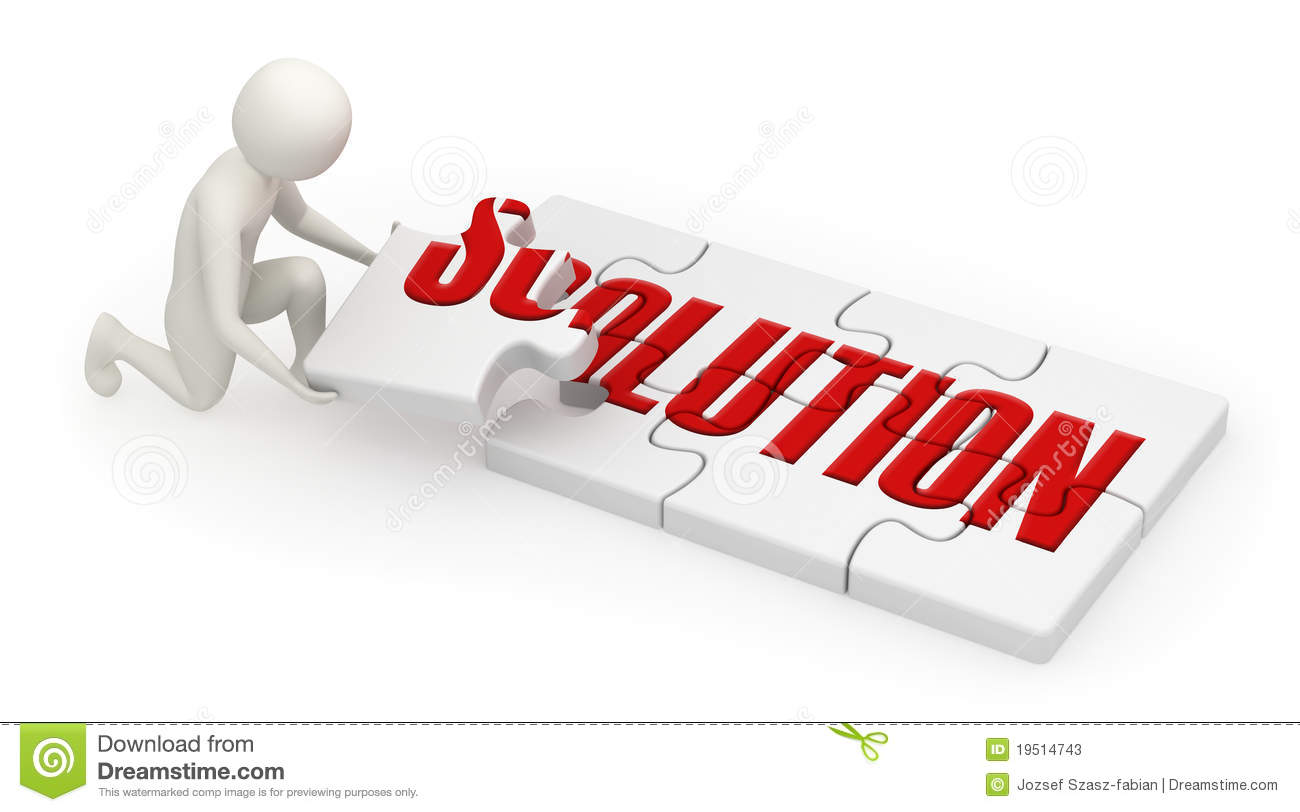3d Man Assembling Solution Puzzle Stock Photos - Image: 19514743