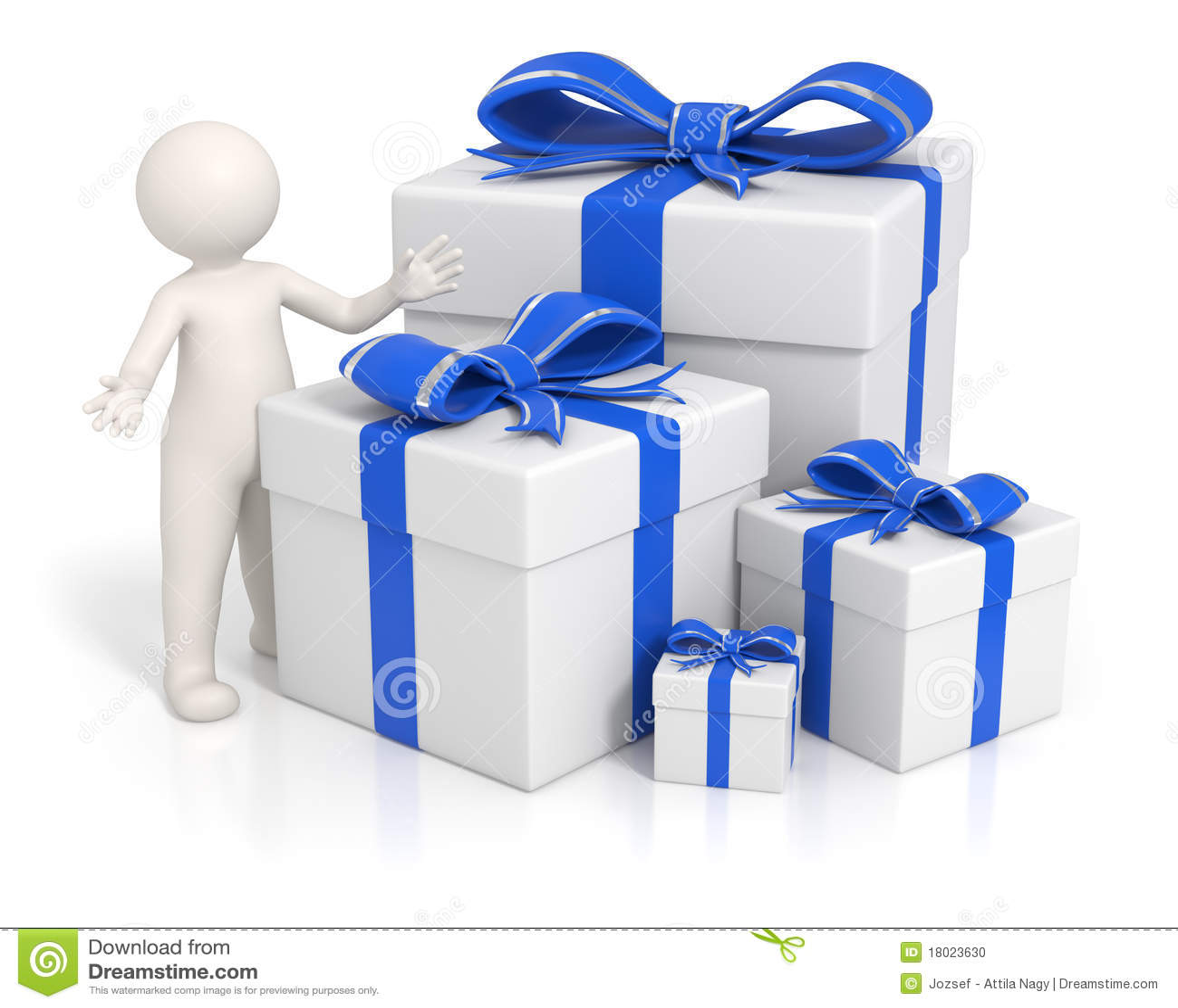 D man blue gift boxes stock illustration