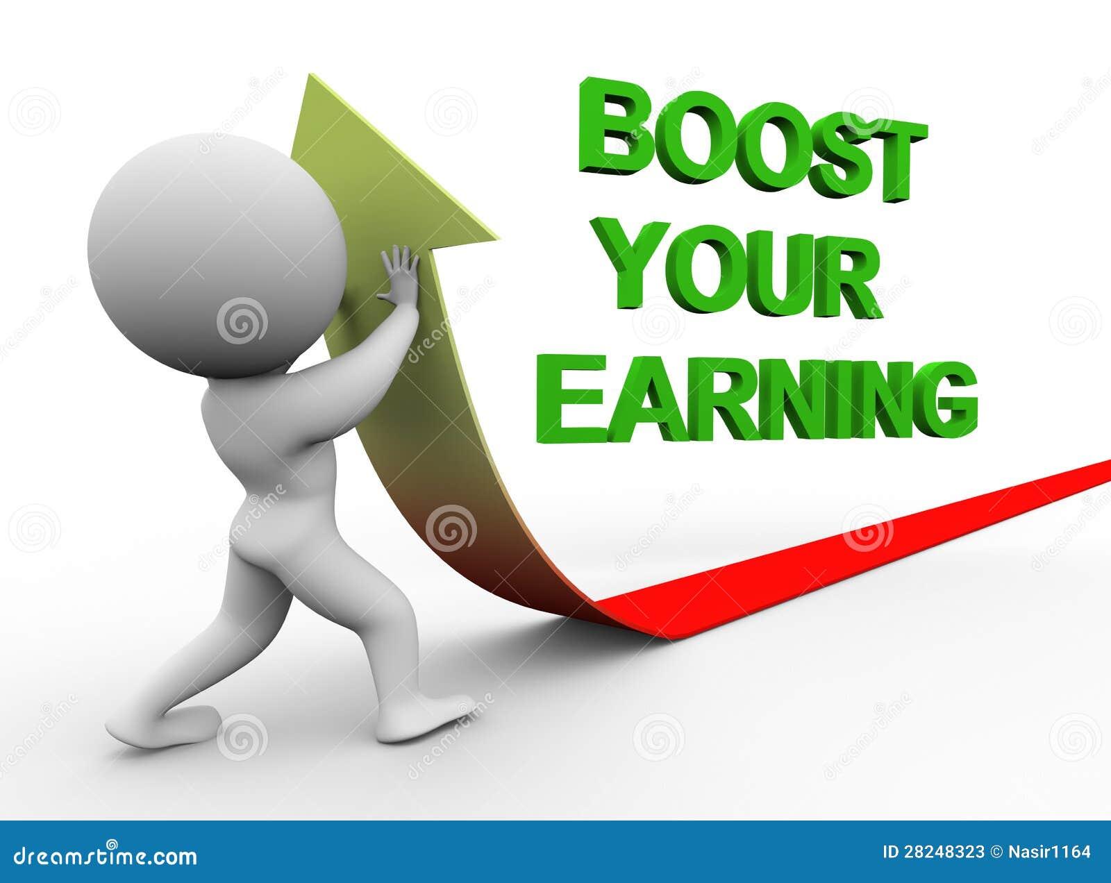 3d man boost you earning stock illustration illustration of concept