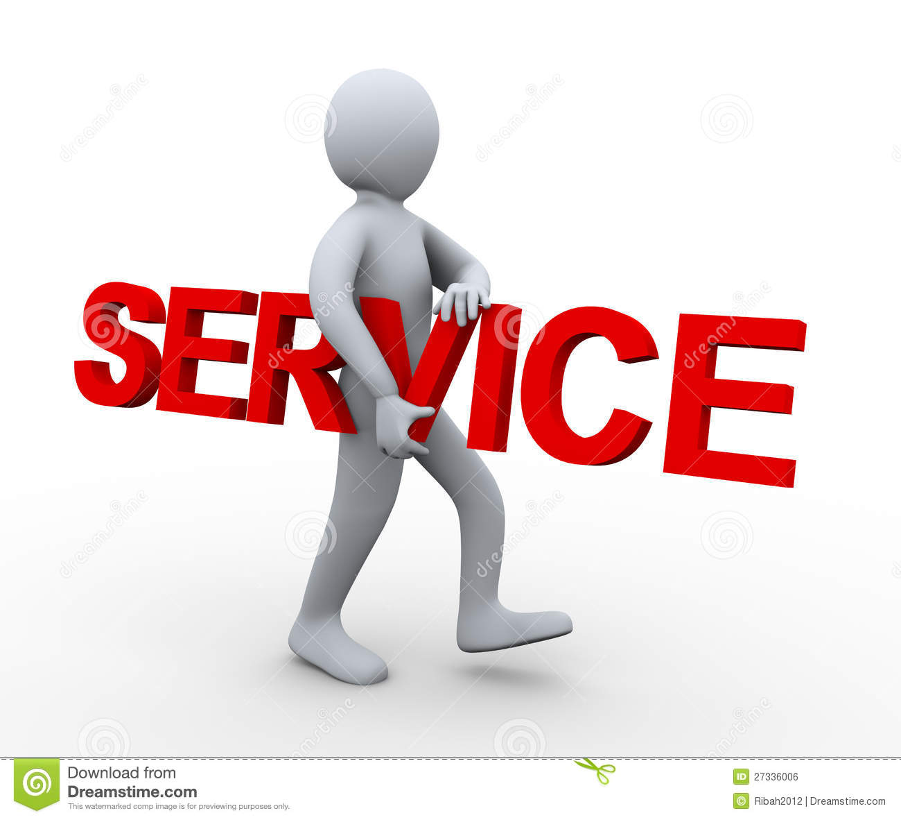 3d Man Carrying Word Service Royalty Free Stock Image