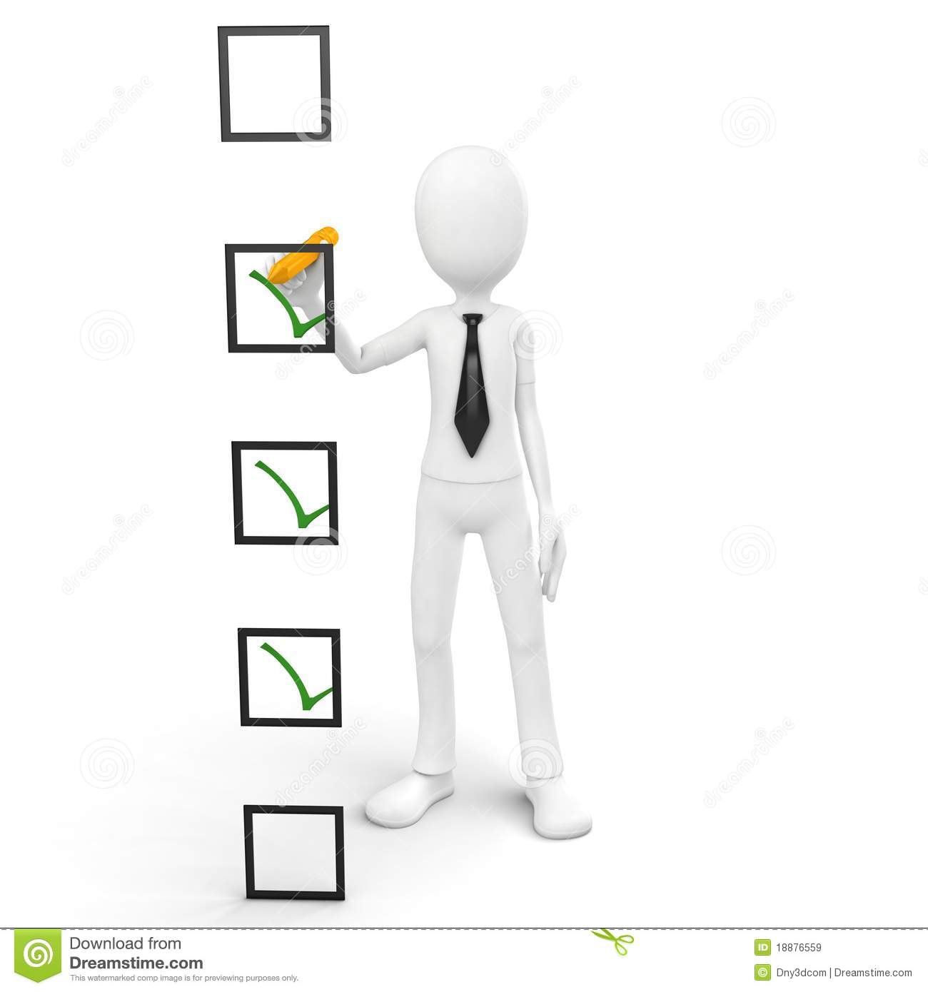 3d Man Checking A List Royalty Free Stock Images Image
