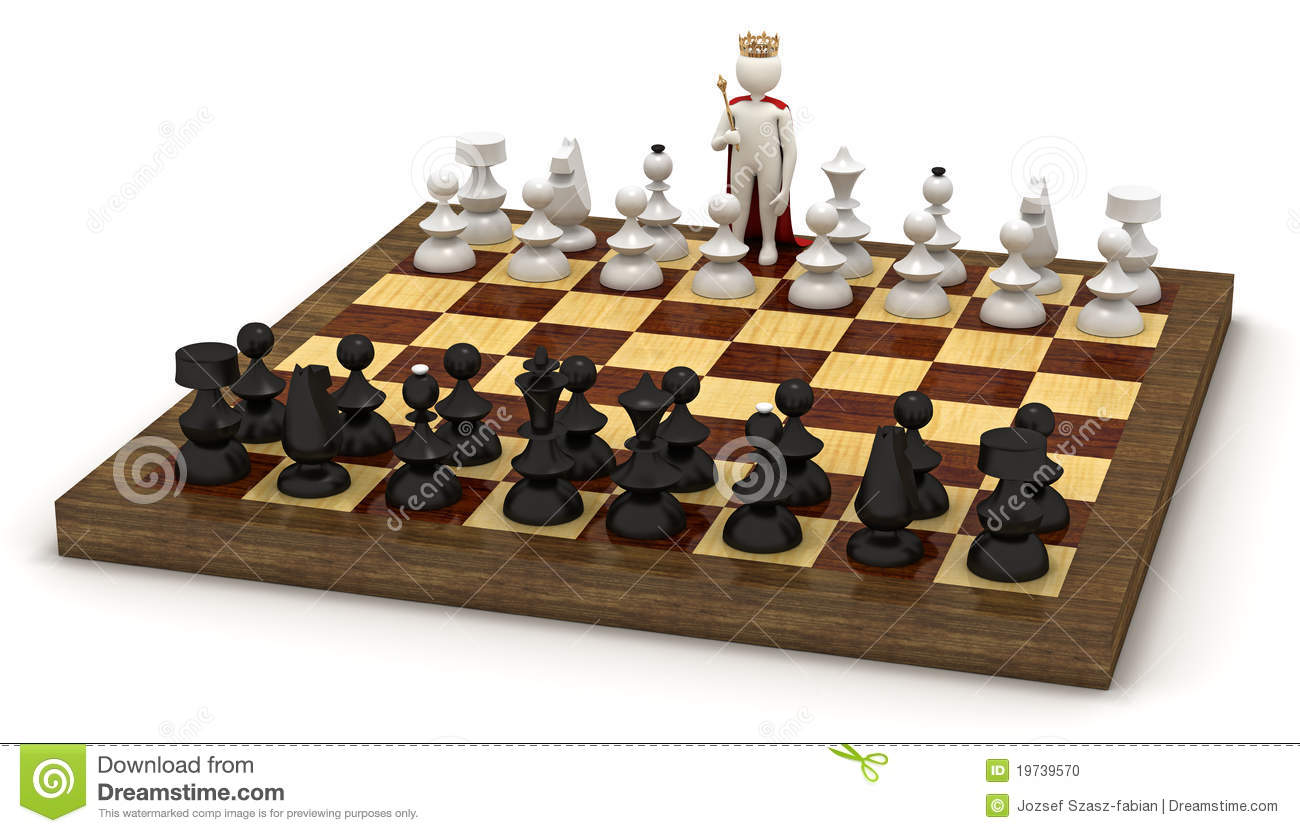 3d Man On Chess Board As King Stock Illustration Image