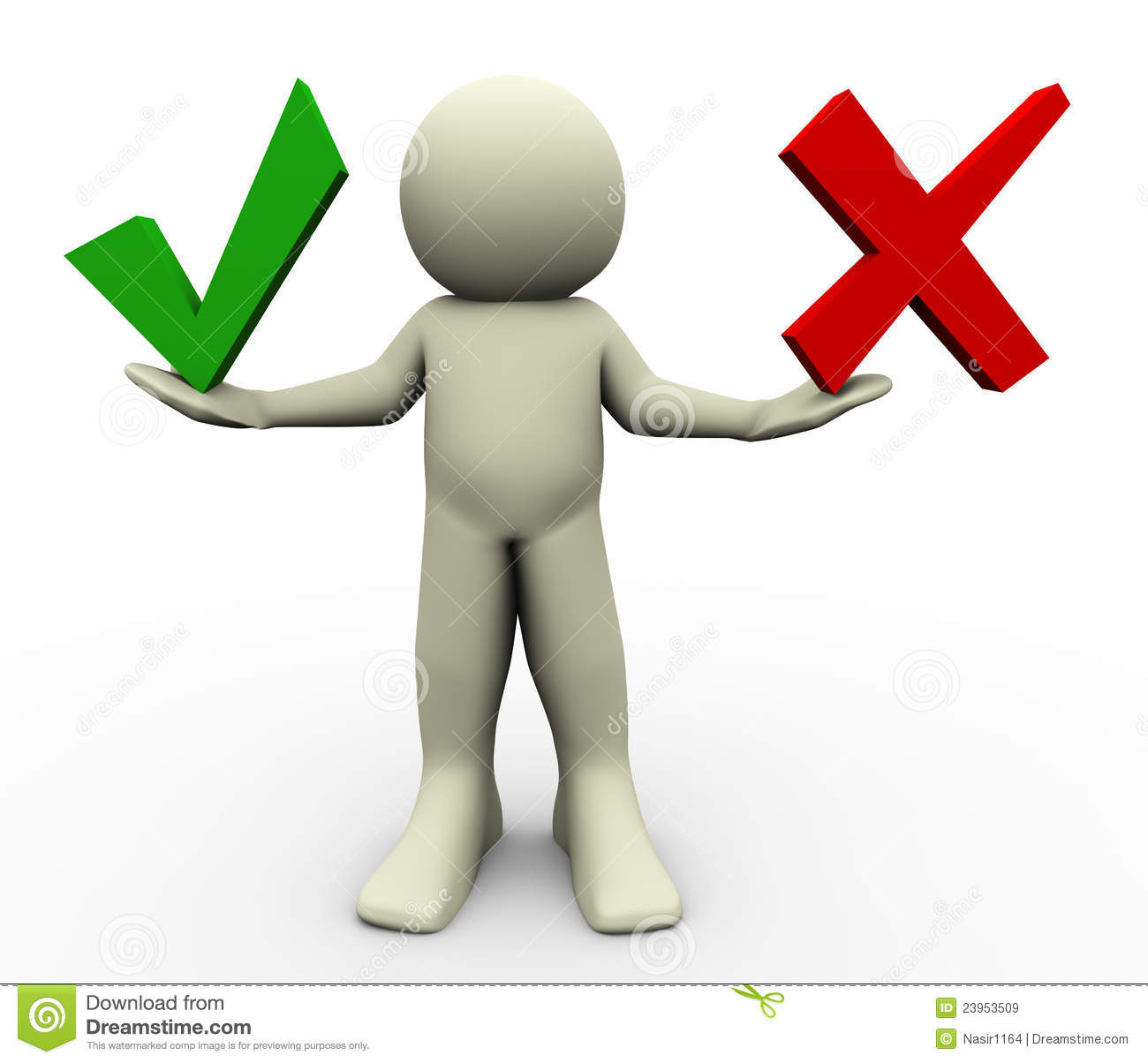 3d render of man with correct and wrong symbols illustration of human