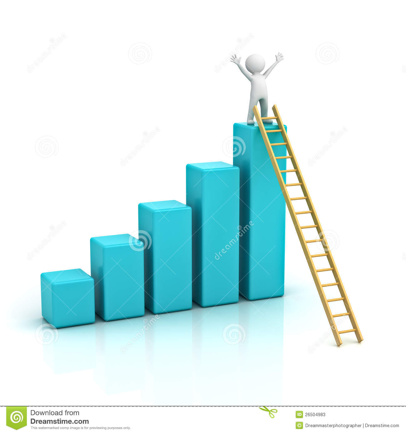3d Man Climbing Ladder To The Top Of Graph Stock Illustration ... for Student Climbing Ladder  153tgx