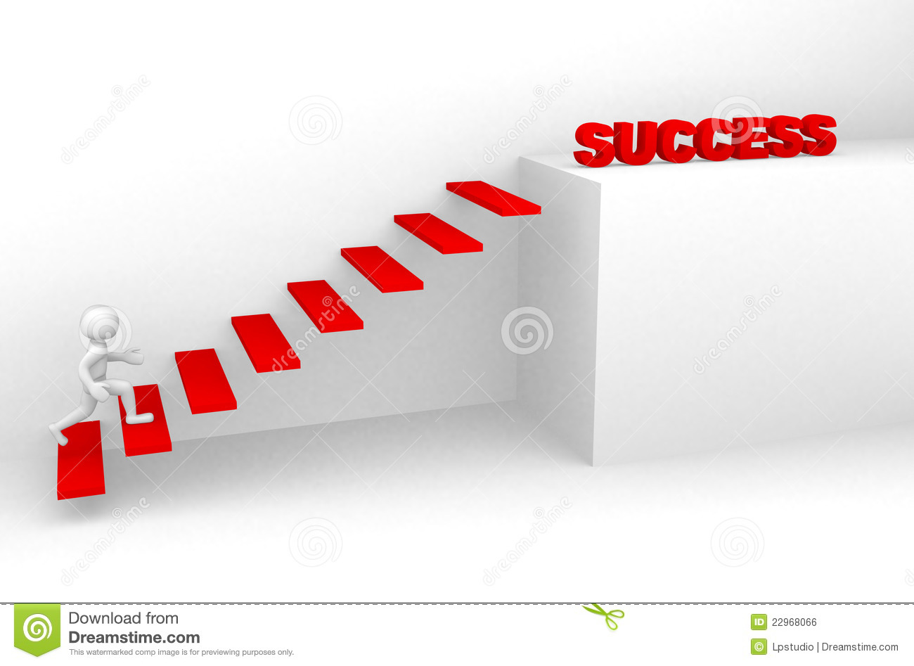 3d Man Climbs The Ladder Of Success Stock Illustration ...