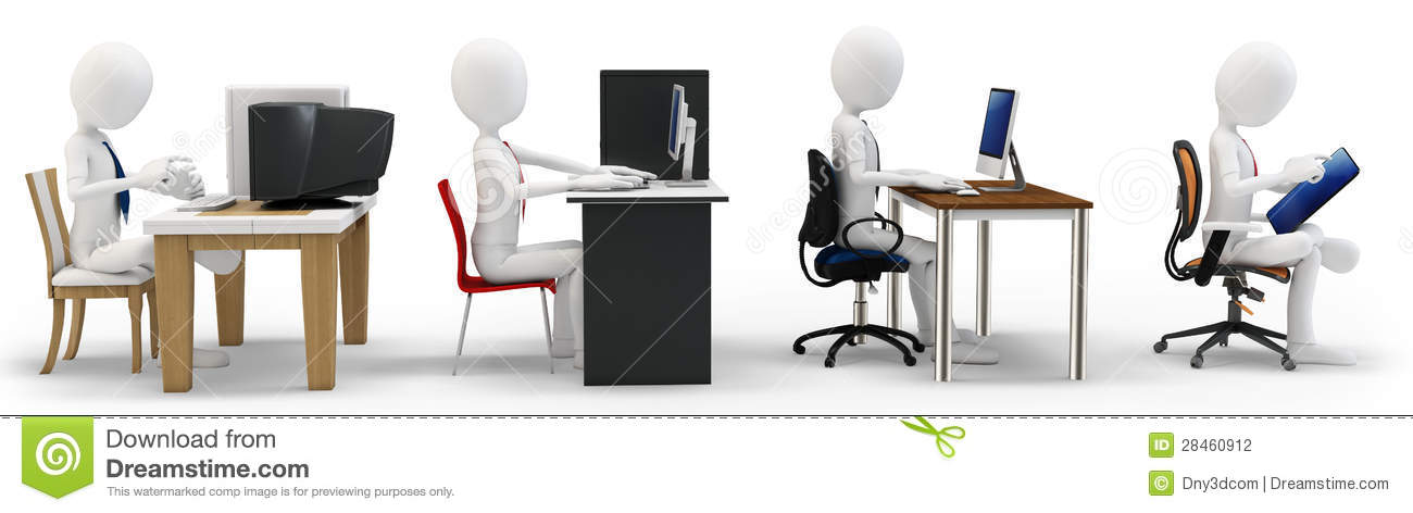 3d Man With Computer Evolution Concept Stock Illustration