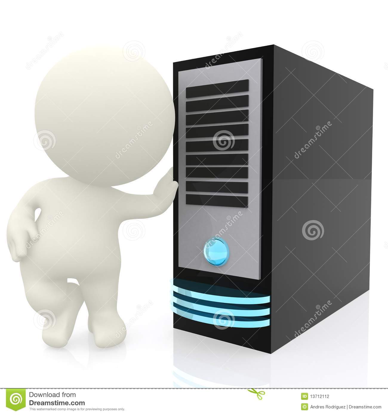 3d Man With Computer Server Stock Illustration