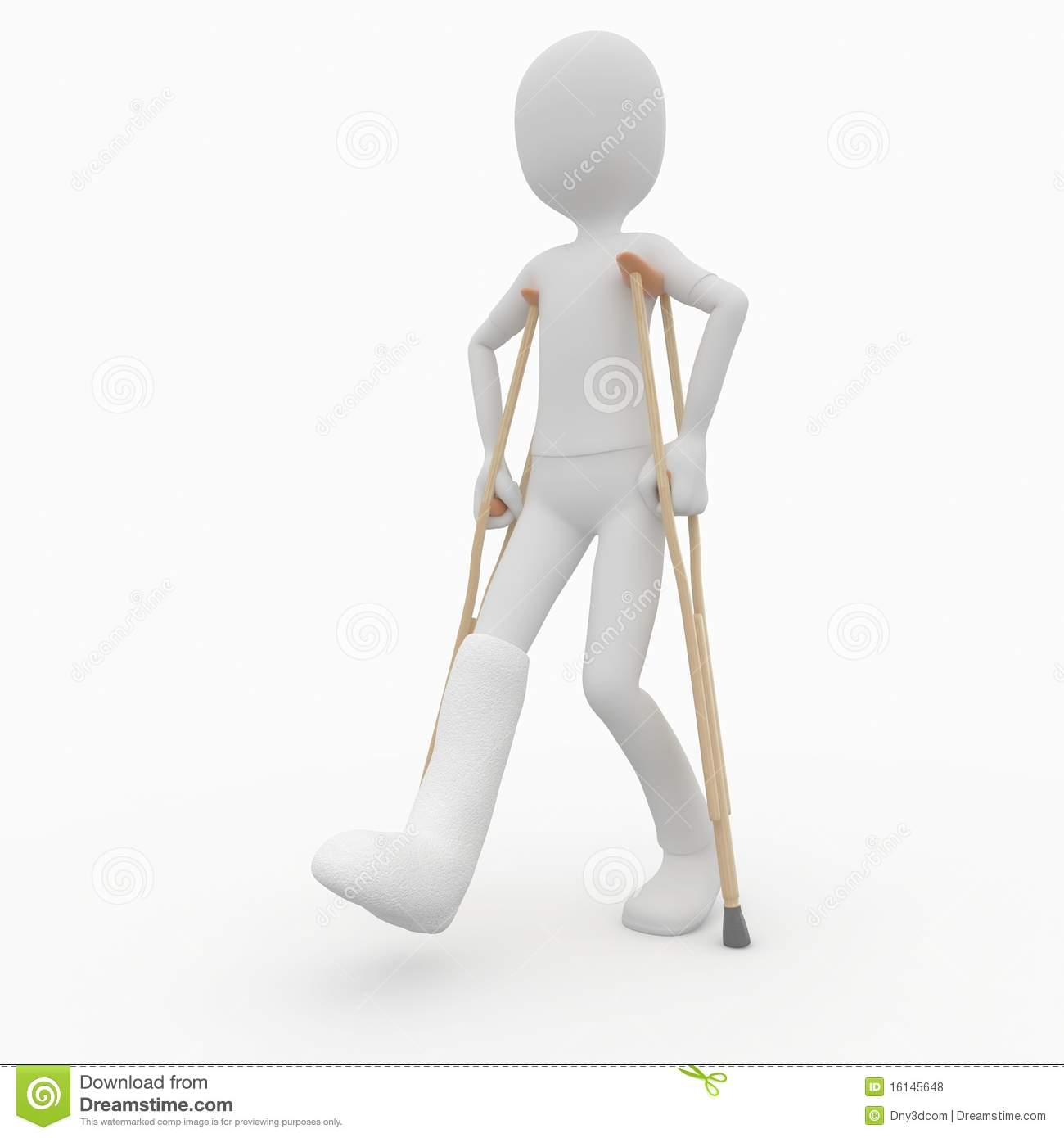 3d man with crutches