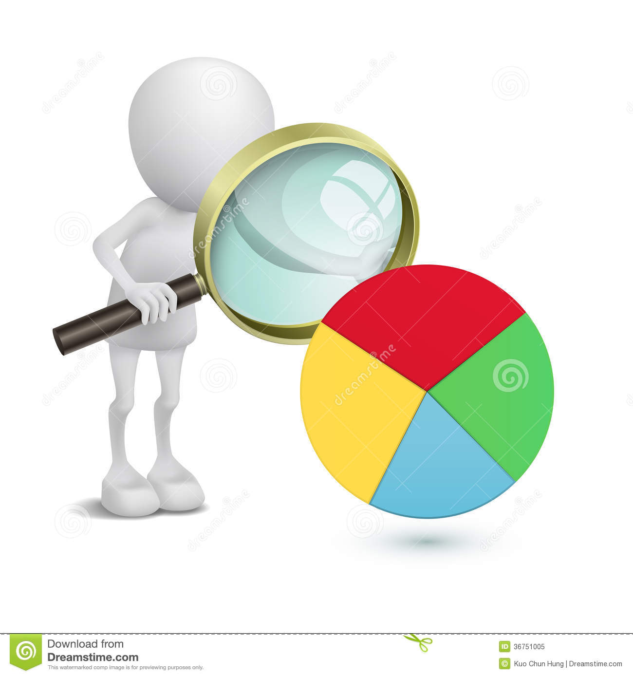 3d man with financial pie chart and magnifying glass royalty free stock photo