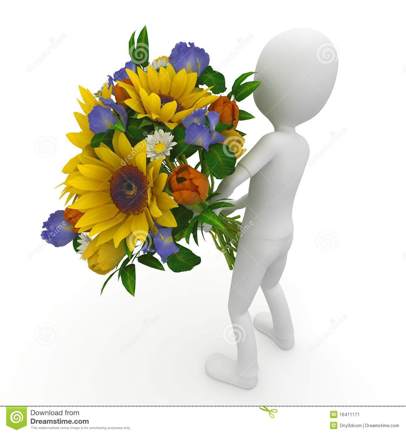 3d man with flowers stock illustration illustration of giving 3d man with flowers giving flirt izmirmasajfo