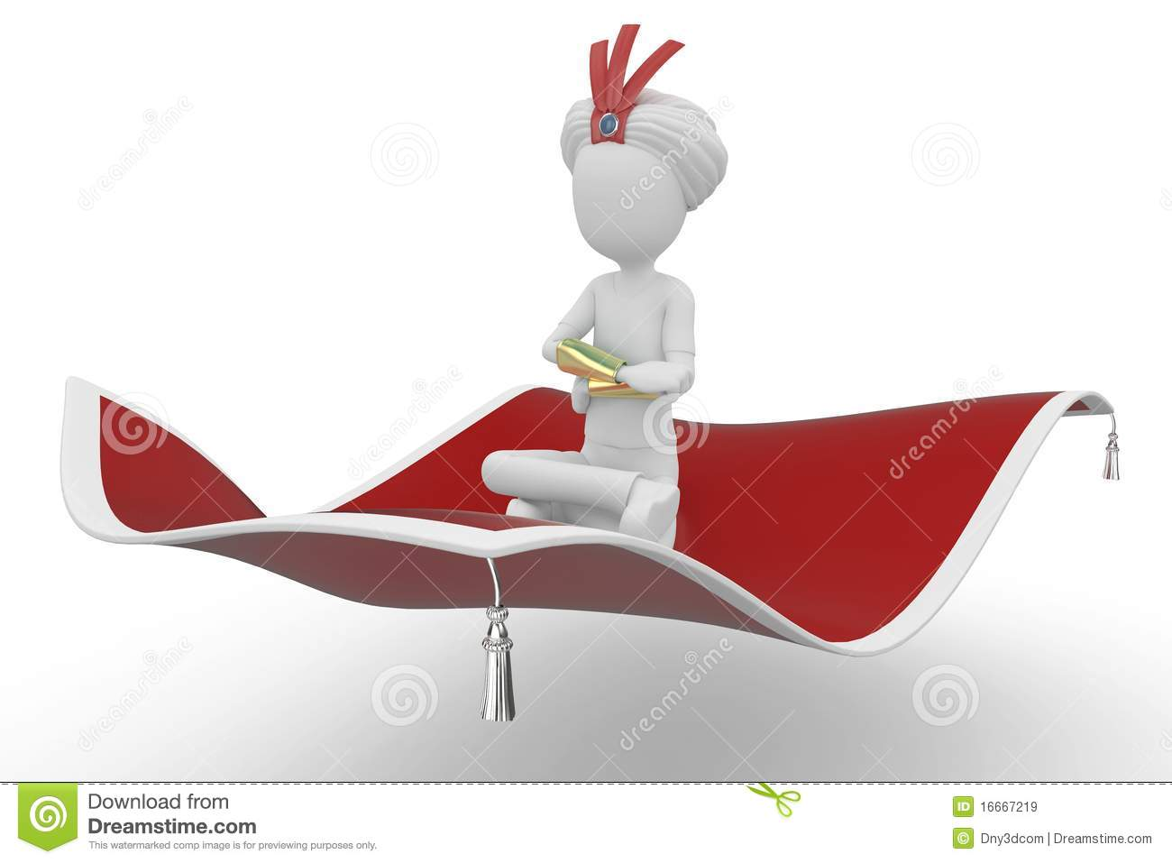 3d Man With Flying Carpet Royalty Free Stock Images