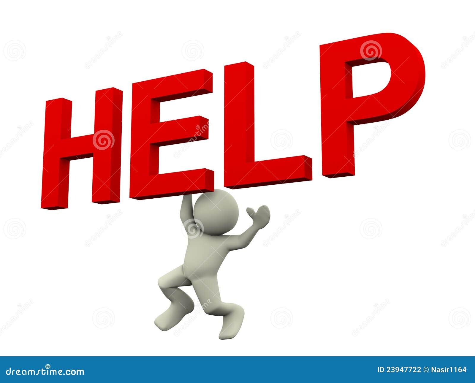 3d Man Help Text Stock Photography - Image: 23947722