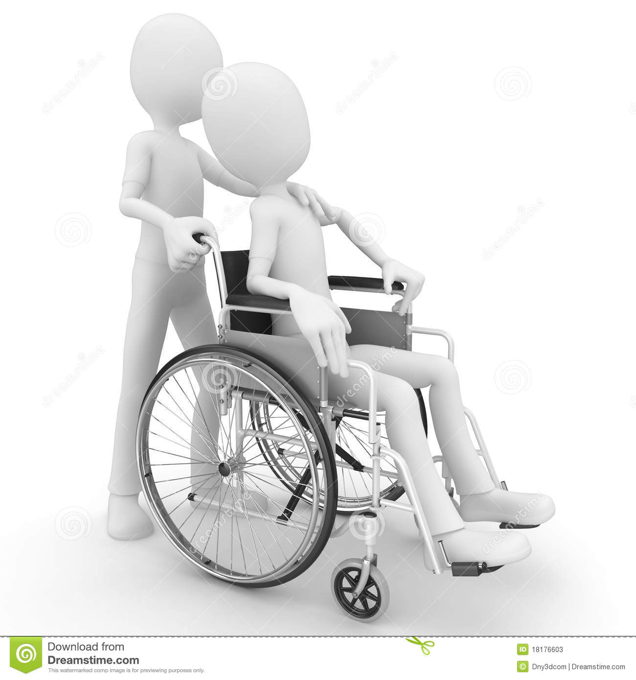 3d man helping older with wheel chair