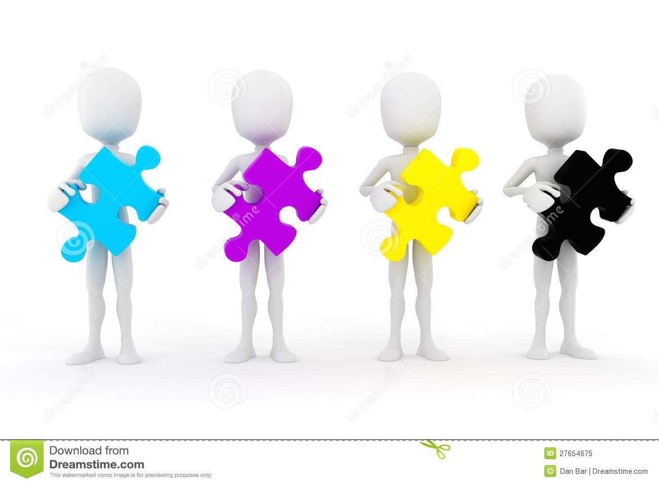 Cymk Puzzle 3d Man Holding Colorful Cmyk Puzzle Pieces Royalty Free