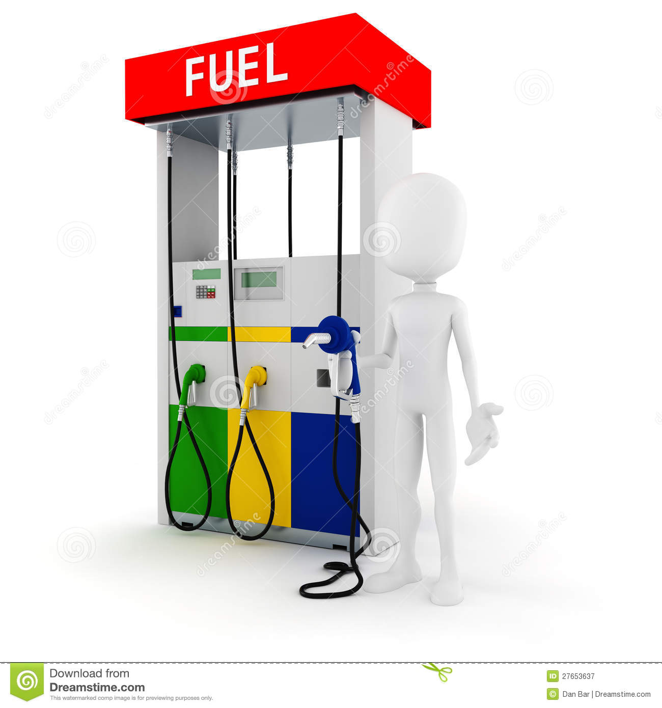 3d Man Holding A Fuel Pump Royalty Free Stock Photography - Image ...