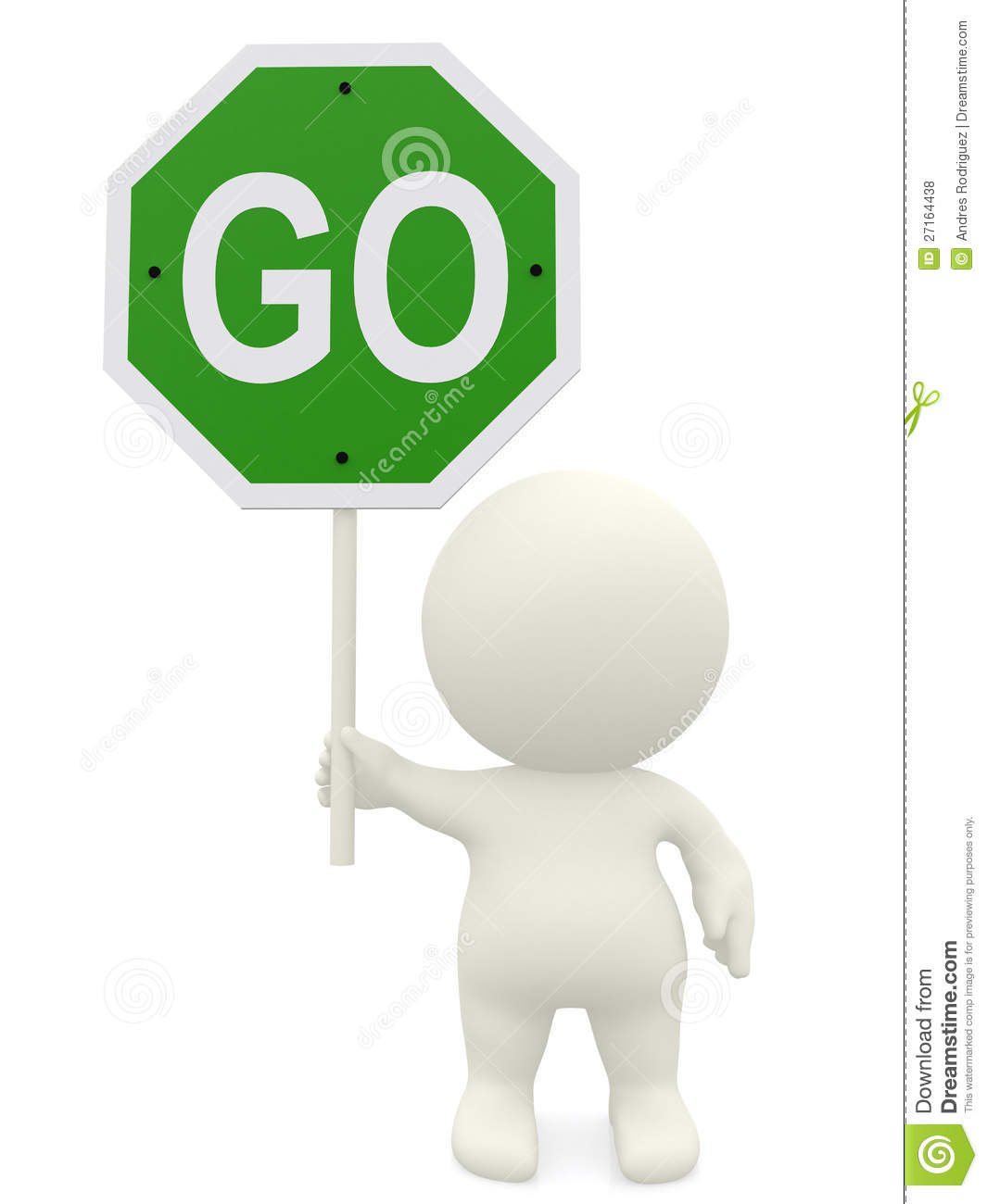 3D Man Holding A Go Sign Royalty Free Stock Photos - Image: 27164438