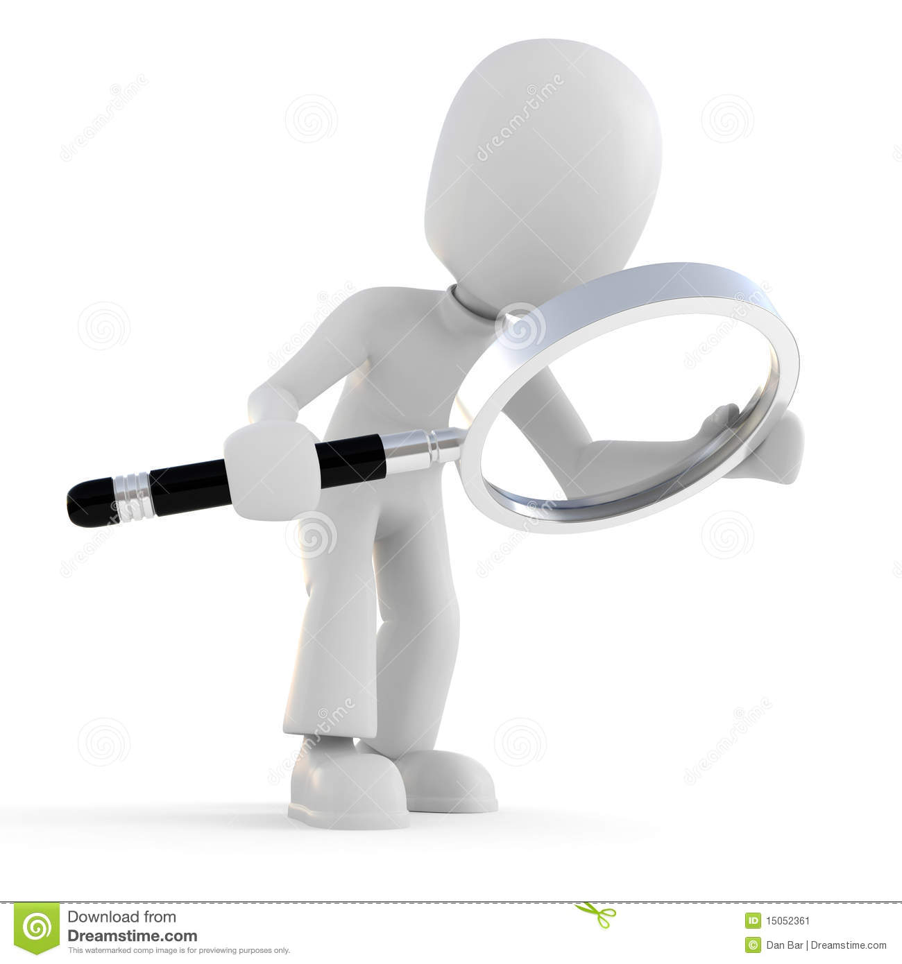 3d Man Holding A Magnifier Glass Isolated On White Stock Image - Image ...