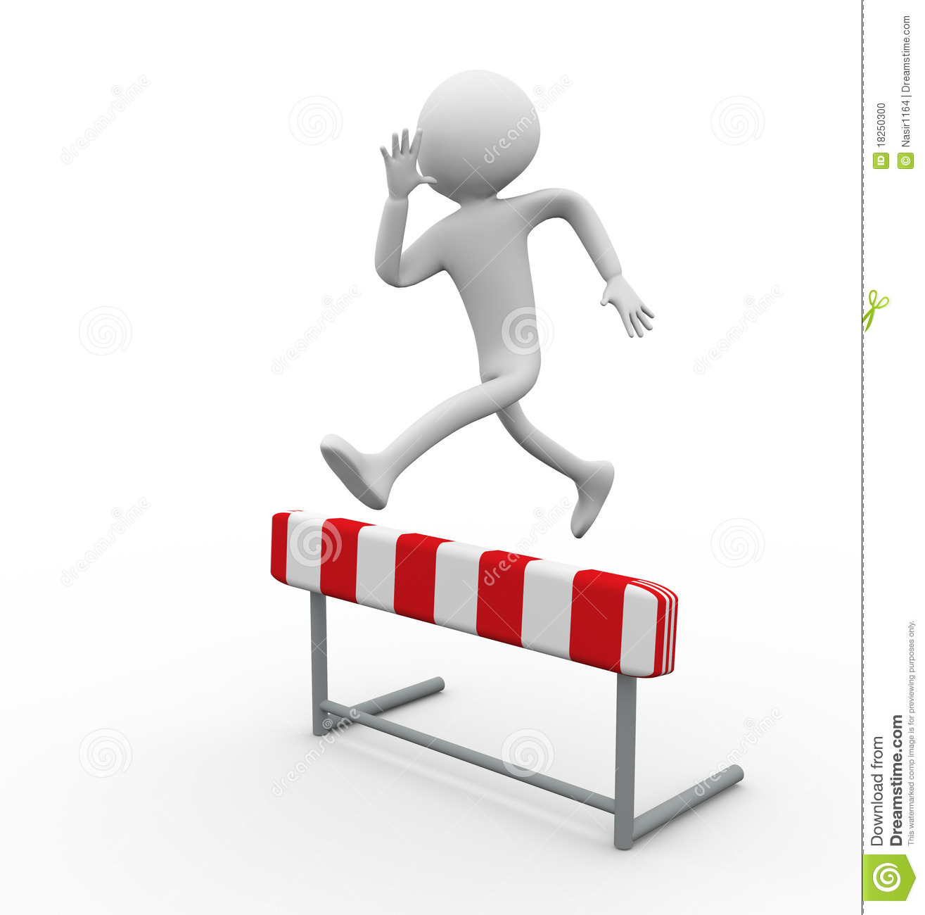 3d Man Hurdle Jump Stock Photo - Image: 18250300