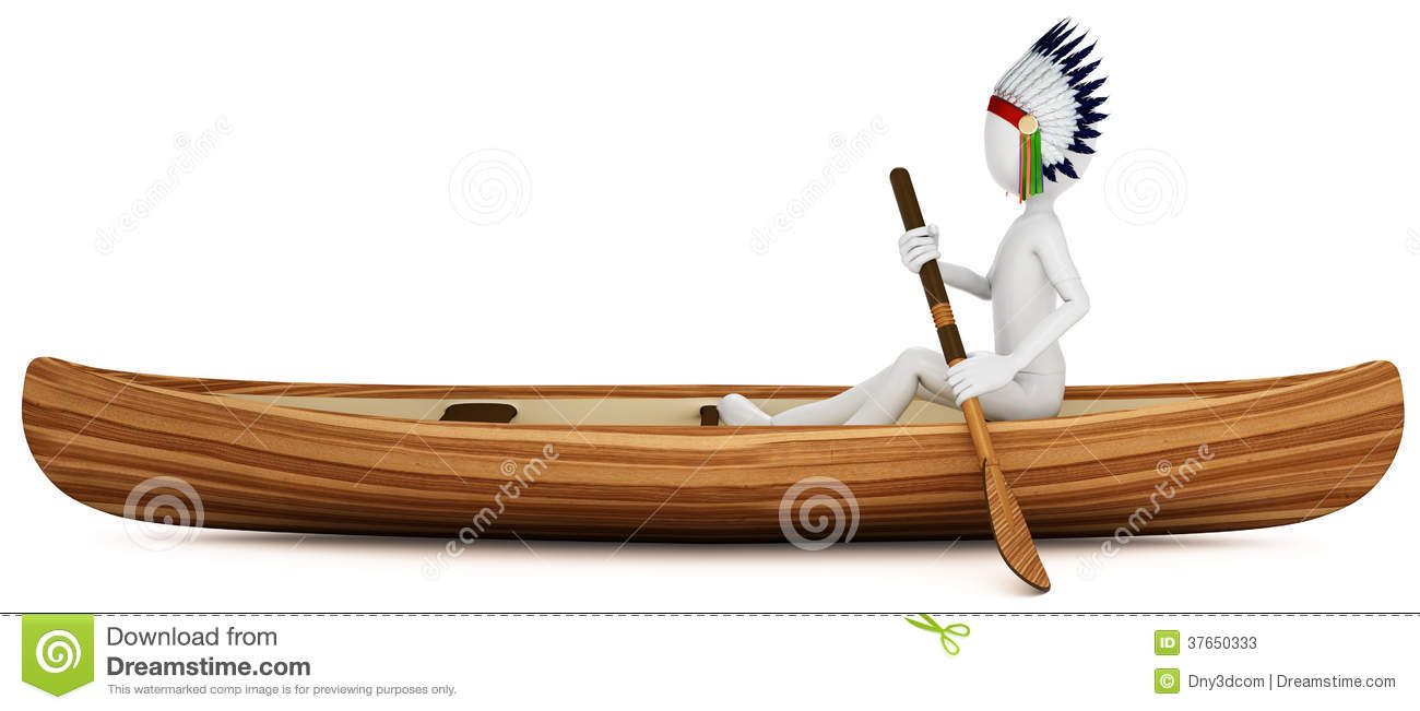3d Man Indian Warrior With Canoe Stock Photos Image