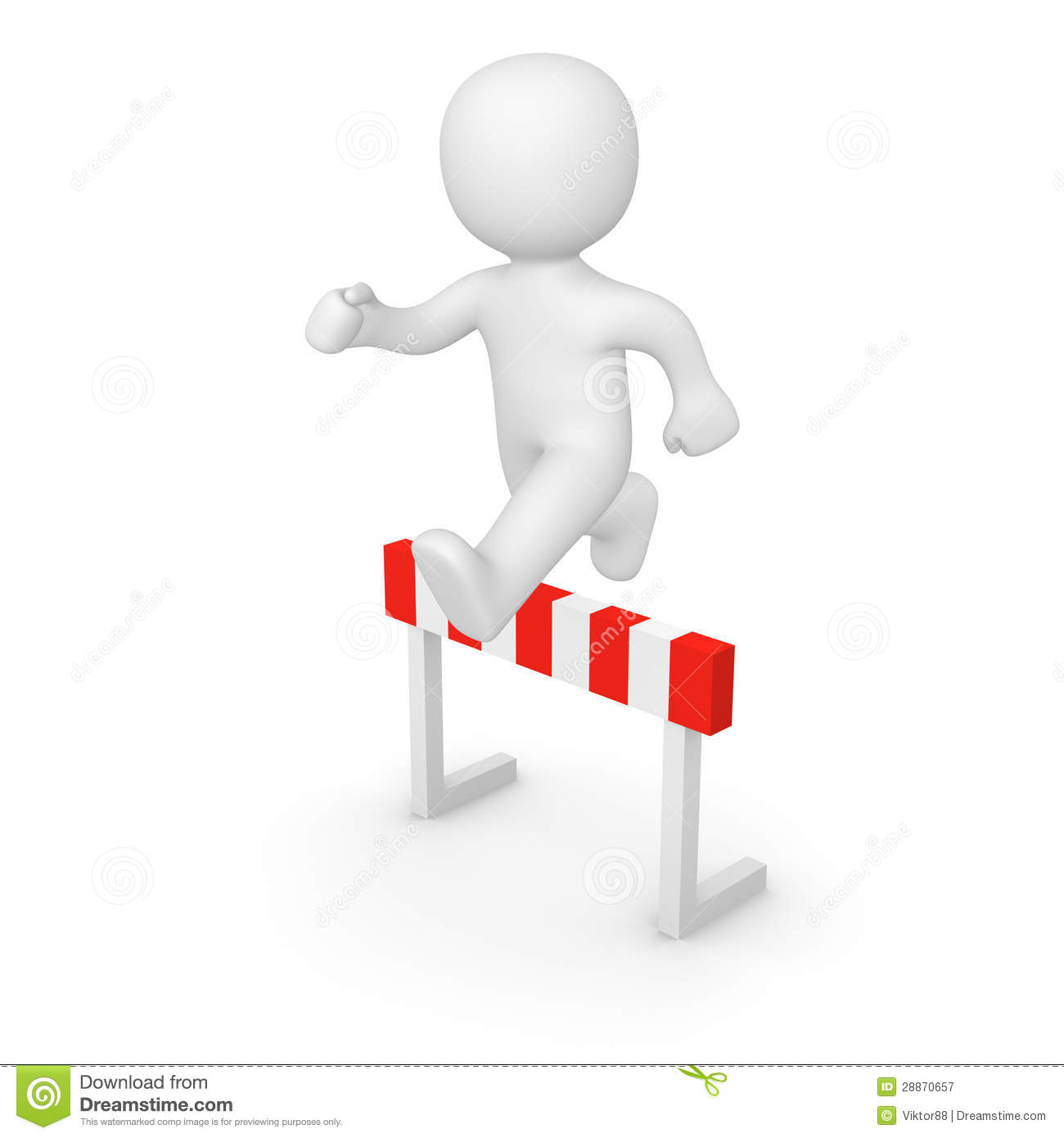 3d Man Jumping Over Hurdle Stock Illustration