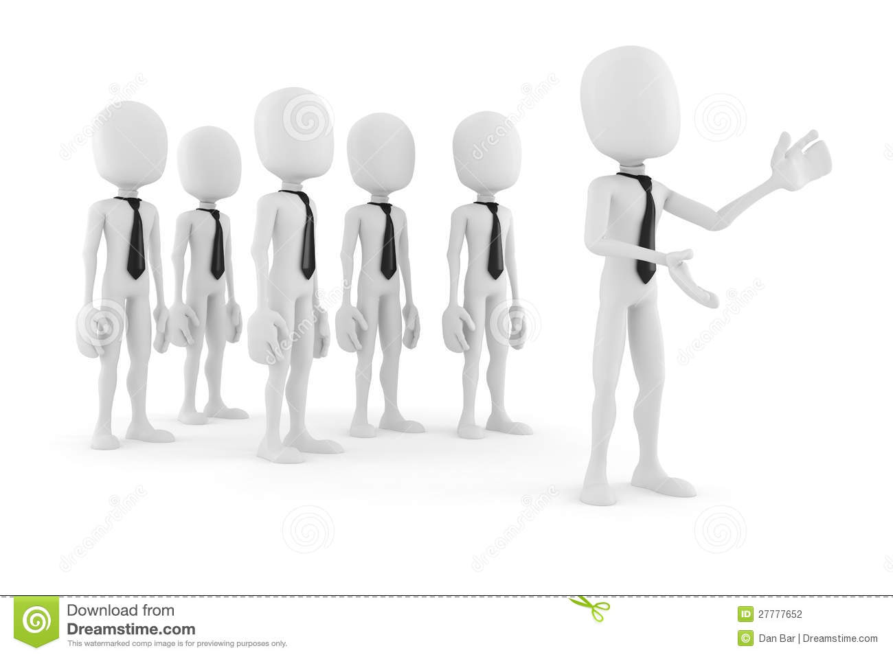 3d man leader in front of a crowd
