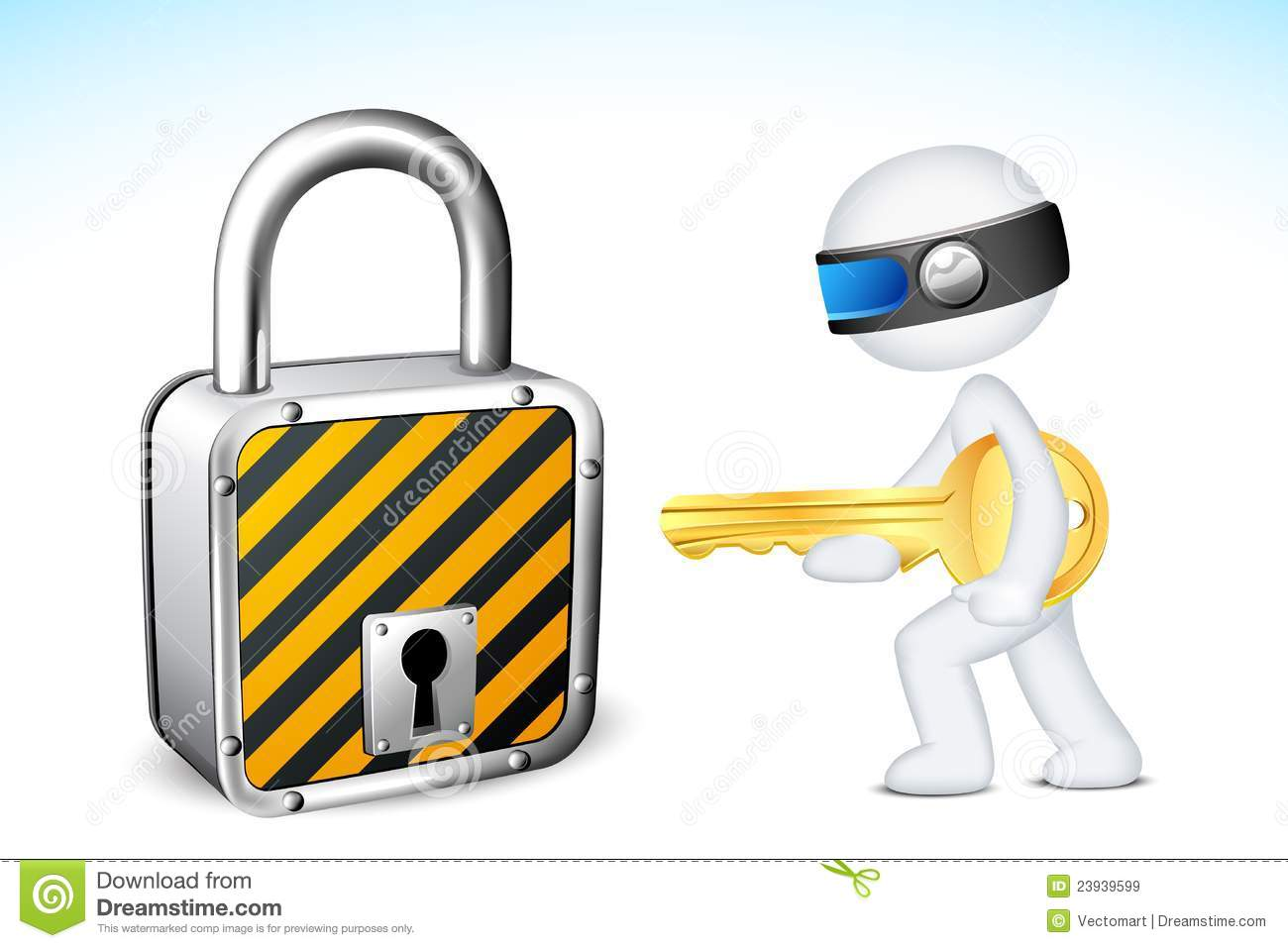 3d Man with Lock and Key
