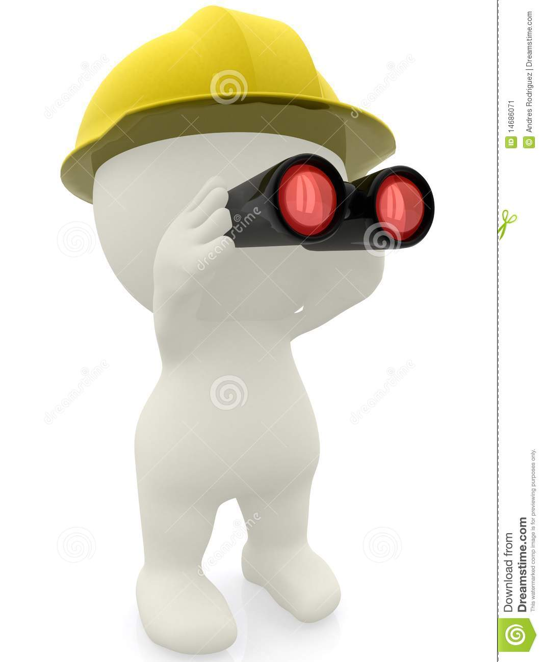 3d man looking through binoculars stock image image for 3d setup builder