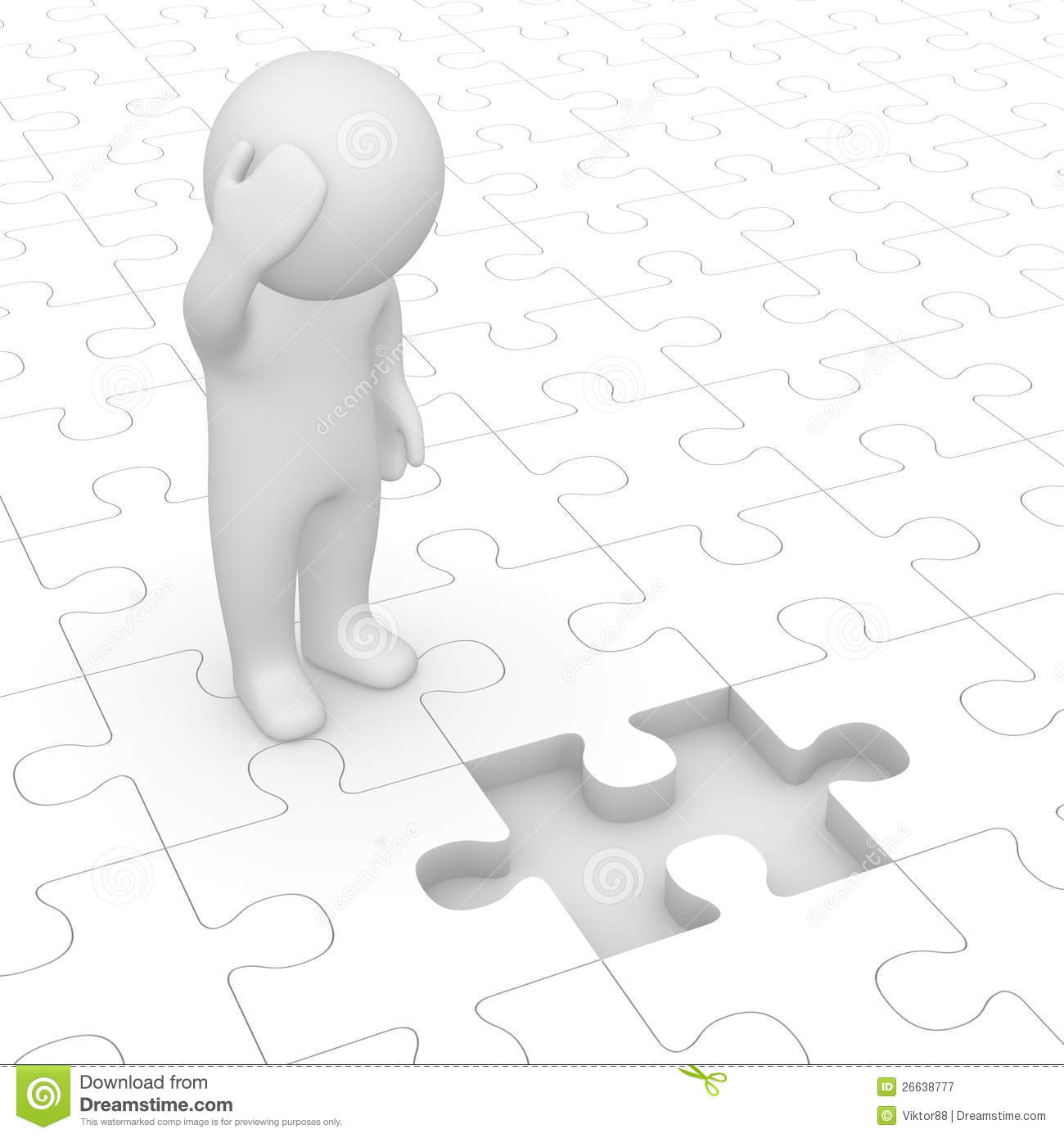 3d Man Looking At Missing Piece Of Puzzle Stock Illustration