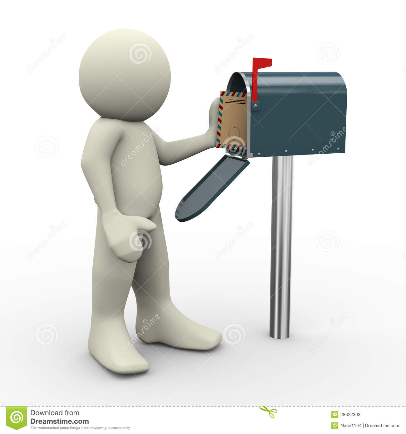 3d Man With Envelope Beside Mailbox Royalty Free Stock Photo ...