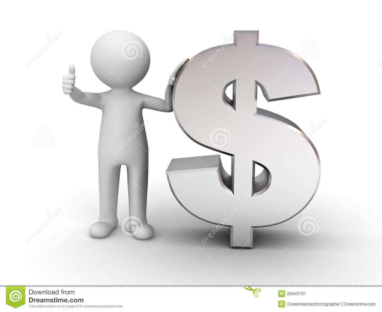 3d Man With Metal Money Stock Image Image 25643701