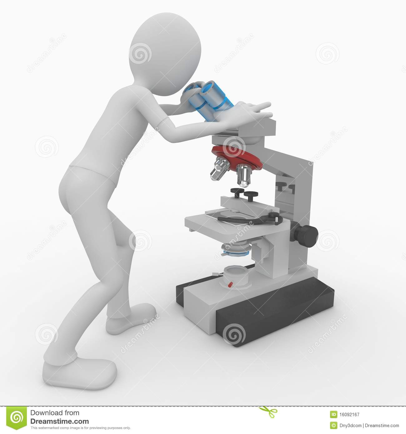 3d man with microscope
