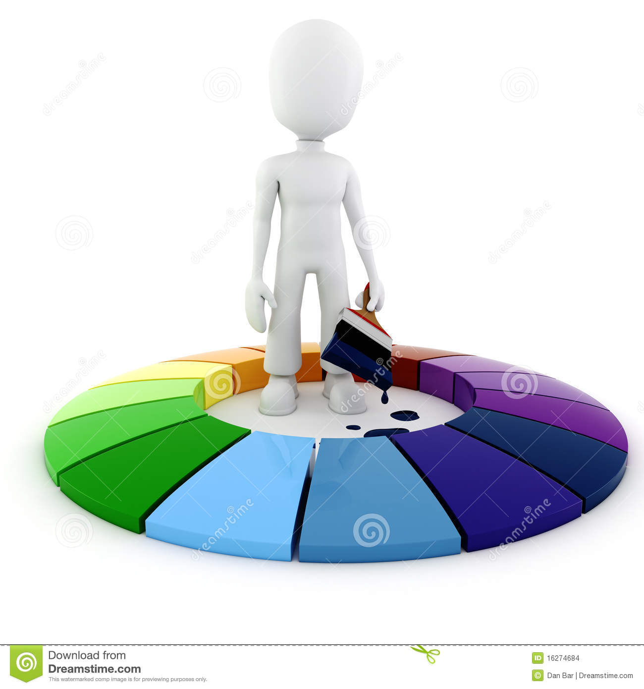 3d Man Painting A Color Wheel Stock Illustration Illustration Of
