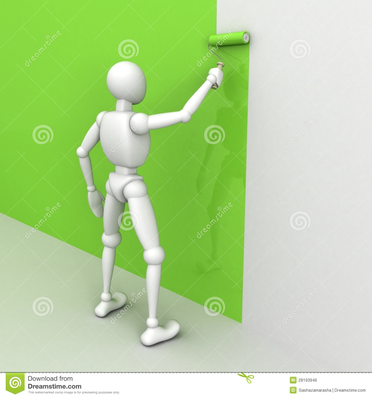 Person painting wall - 3d Man Painting The Wall With A Roller Brush Royalty Free Stock Image