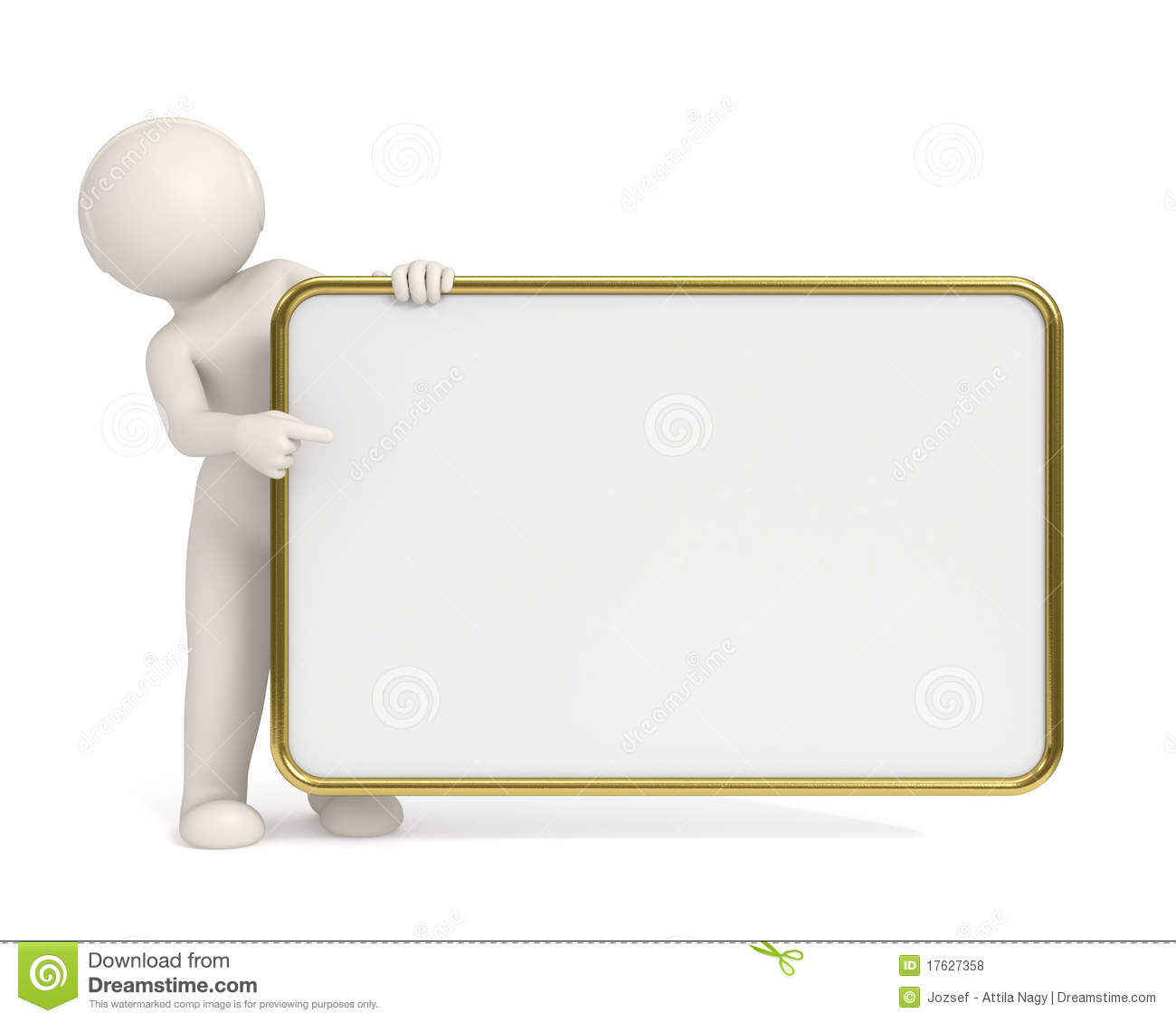 3d man pointing to empty board gold frame