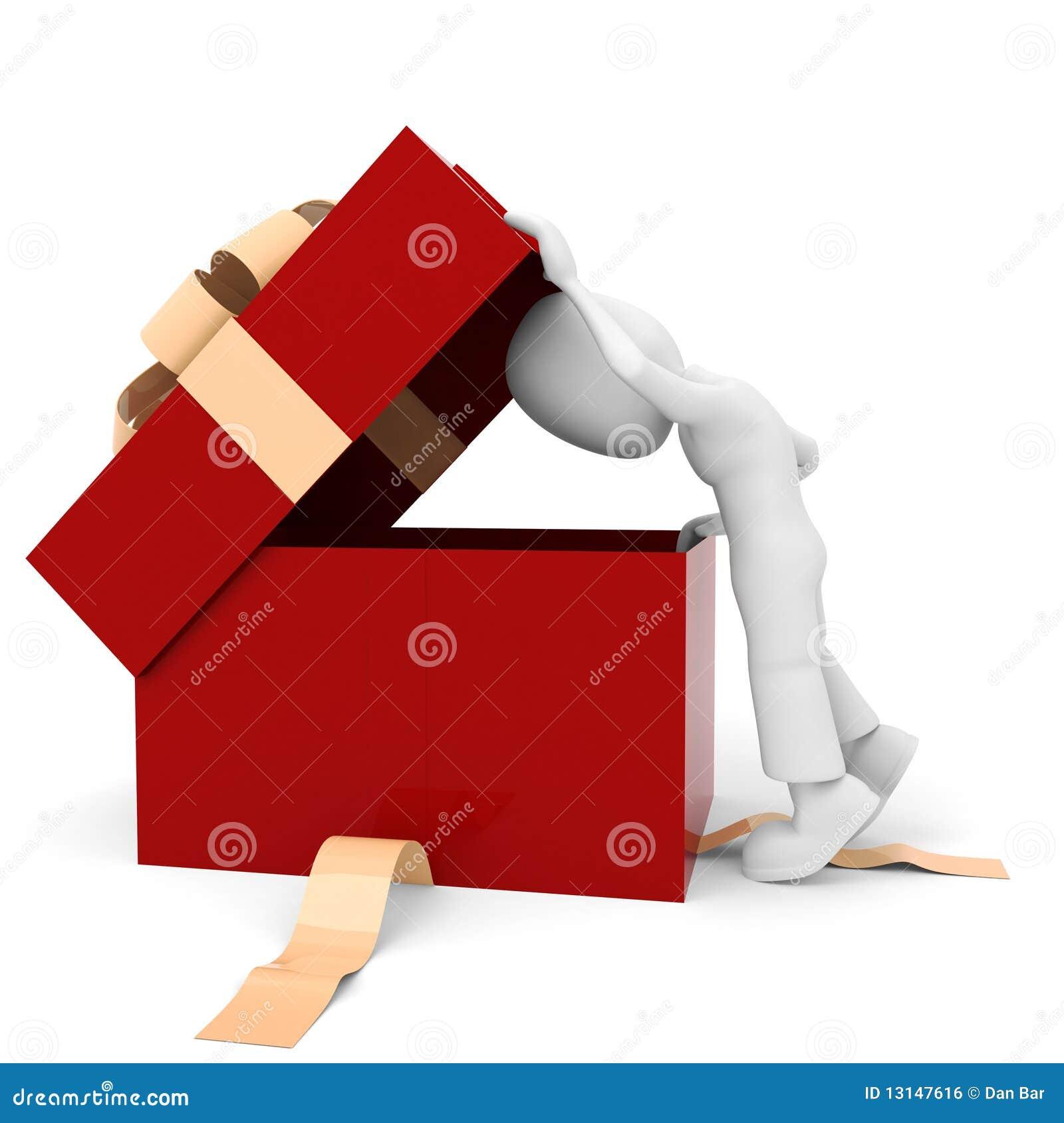 3d man and a present box